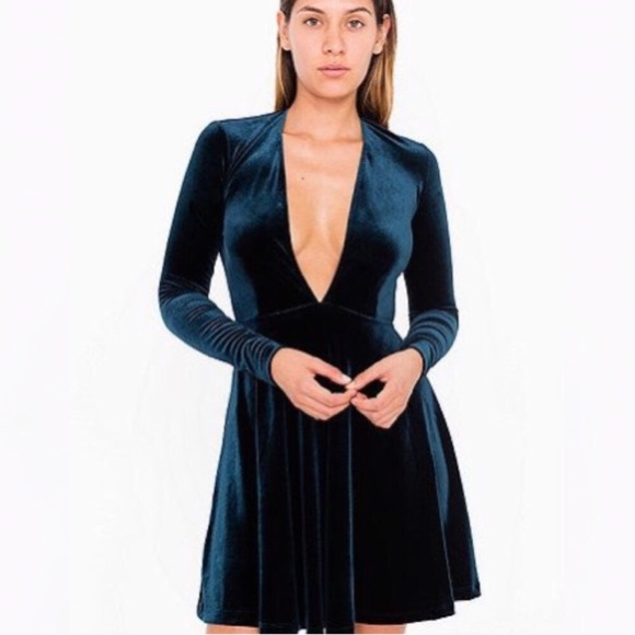 ce090fa721 Blue Nile Velvet Long Sleeve Deep V Skater Dress. NWT. American Apparel